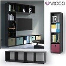 Vicco Raumteiler 4 Fächer Schwarz 144 x 36 cm -