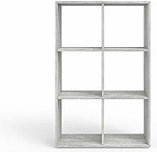 VICCO Raumteiler 6 Fächer Beton Optik Bücherregal Standregal Aktenregal Hochregal Aufbewahrung Regal