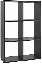Vicco Raumteiler 6 Fächer Schwarz Bücherregal