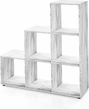Vicco Treppenregal 6 Fächer - 105 cm Beton -