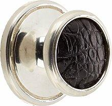 VICENZA Designs K1110Pilz) Einsatz Knopf mit Lederband schwarz, poliert Silber