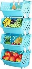 Vicoki 4 Pack Küche Gemüse Regal Obst Lagerung Korb Plastik Obst Gemüse Verdickte Rack Regal Aufbewahrung Multifunktionale Kunststoff Regal für Küche Badezimmer Wohnzimmer Lagerung (Blau)