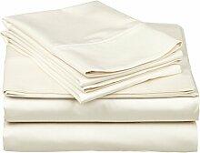 Victoria Betten Ägyptische Baumwolle 650-thread-count Bettset 4-Bettlaken-Set fit Matratze bis 44cm Ultra Soft-Elegant, komfortabel, weich Home & Hotel Qualität., 100 % Baumwolle, Ivory Solid, Einzelbe