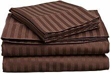 Victoria Betten Ägyptische Baumwolle 650-thread-count Bettset 4-Bettlaken-Set fit Matratze bis 44cm Ultra Soft-Elegant, komfortabel, weich Home & Hotel Qualität., 100 % Baumwolle, Chocolate Stripe, Euro Ikea King