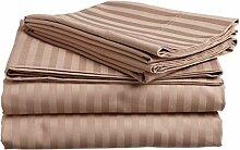 Victoria Betten Ägyptische Baumwolle 650-thread-count Bettset 4-Bettlaken-Set fit Matratze bis 44cm Ultra Soft-Elegant, komfortabel, weich Home & Hotel Qualität., 100 % Baumwolle, Taupe Stripe, UK King