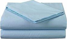 Victoria Betten Ägyptische Baumwolle 650-thread-count Bettset 4-Bettlaken-Set fit Matratze bis 44cm Ultra Soft-Elegant, komfortabel, weich Home & Hotel Qualität., 100 % Baumwolle, Light Blue Solid, Super King