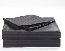 Victoria Betten Ägyptische Baumwolle 650-thread-count Bettset 4-Bettlaken-Set fit Matratze bis 44cm Ultra Soft-Elegant, komfortabel, weich Home & Hotel Qualität., 100 % Baumwolle, Dark Grey Stripe, UK King