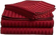 Victoria Betten Ägyptische Baumwolle 650-thread-count Bettset 4-Bettlaken-Set fit Matratze bis 44cm Ultra Soft-Elegant, komfortabel, weich Home & Hotel Qualität., 100 % Baumwolle, Burgundy Stripe, Euro Double Ikea
