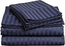 Victoria Betten Ägyptische Baumwolle 650-thread-count Bettset 4-Bettlaken-Set fit Matratze bis 44cm Ultra Soft-Elegant, komfortabel, weich Home & Hotel Qualität., 100 % Baumwolle, Navy Blue Stripe, King Single