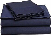 Victoria Betten Ägyptische Baumwolle 650-thread-count Bettset 4-Bettlaken-Set fit Matratze bis 44cm Ultra Soft-Elegant, komfortabel, weich Home & Hotel Qualität., 100 % Baumwolle, Navy Blue Solid, Einzelbe