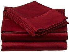 Victoria Betten Ägyptische Baumwolle 650-thread-count Bettset 4-Bettlaken-Set fit Matratze bis 44cm Ultra Soft-Elegant, komfortabel, weich Home & Hotel Qualität., 100 % Baumwolle, Burgundy Solid, Emperor