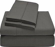 Victoria Betten Ägyptische Baumwolle 650-thread-count Bettset 4-Bettlaken-Set fit Matratze bis 44cm Ultra Soft-Elegant, komfortabel, weich Home & Hotel Qualität., 100 % Baumwolle, Dark Grey Solid, King Single