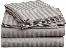 Victoria Betten Ägyptische Baumwolle 800-thread-count Bettset 4-Bettlaken-Set fit Matratze bis zu 35cm Ultra Soft-Elegant, komfortabel, weich Home & Hotel Qualität., 100 % Baumwolle, Light Grey Stripe, Doppelbe