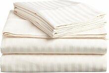 Victoria Betten Ägyptische Baumwolle 800-thread-count Bettset 4-Bettlaken-Set fit Matratze bis zu 35cm Ultra Soft-Elegant, komfortabel, weich Home & Hotel Qualität., 100 % Baumwolle, Ivory Stripe, Emperor