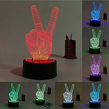 Victory finger 3D Nachtlicht 3d LED Lampe bunte