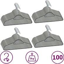 vidaXL 100 Stk. Kleiderbügel-Set Anti-Rutsch Grau