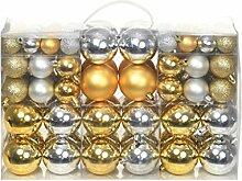 vidaXL 100x Weihnachtskugeln 6cm Silbern Golden