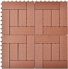vidaXL 11x Terrassenfliesen 30x30cm 1m² Braun WPC