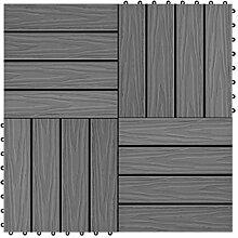 vidaXL 11x Terrassenfliesen WPC 30x30cm 1qm Grau