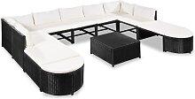 vidaXL 12-tlg. Garten-Lounge-Set mit Auflagen Poly