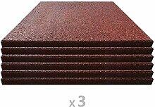 vidaXL 18x Fallschutzmatte Gummi 50x50x3 cm Rot