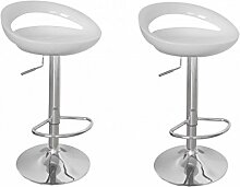 vidaXL 2 Barhocker Bar Stuhl Drehstuhl LOUNGE Hocker DESIGN Küche Barstühle Weiß