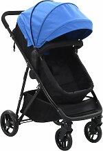 vidaXL 2-in-1 Buggy/Kinderwagen Blau und Schwarz