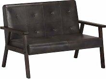 vidaXL 2-Sitzer-Sofa Grau Echtleder