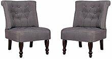 vidaXL 2 Stück Paar Sessel grau gefasstenerbreiter Sessel französischen Stil
