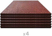 vidaXL 24x Fallschutzmatte Gummi 50x50x3 cm Rot