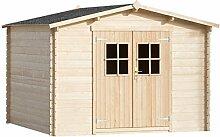 vidaXL 28 mm Gartenhaus Holzhaus Gerätehaus Blockhaus Geräte Schuppen Haus 3x3 m Holz