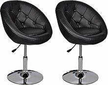 vidaXL 2x Barhocker Chesterfield Barstühle Drehsessel Hocker Bar Stuhl schwarz