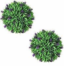 vidaXL 2x Buchsbaum Kugel Lavendel Künstliche Pflanze Buxus Plastikpflanze 36cm
