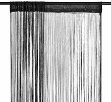 vidaXL 2X Fadenvorhang 100x250cm Schwarz