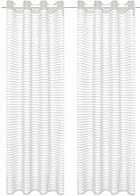 vidaXL 2X Gardine Gewebt Gestreift 140x225cm Weiß