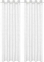 vidaXL 2X Gardine Gewebt Gestreift 140x245cm Weiß
