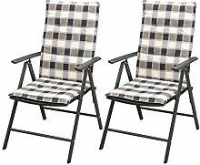 vidaXL 2X Gartenstühle mit Auflage Poly Rattan