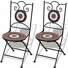 vidaXL 2x Mosaikstuhl Mosaik Stuhl Stühle Klappstuhl Stuhlset Gartenstuhl Bistrostuhl