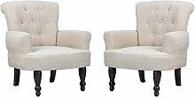 vidaXL 2x Paar französischer Sessel creme gefasstener Armsessel französisch Stil
