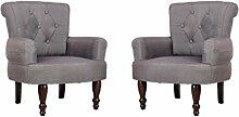 vidaXL 2x Paar französischer Sessel grau gefasstener Armsessel französisch Stil