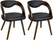 vidaXL 2xLederstühle Ledermix Stühle Sessel Esszimmerstühle
