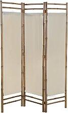 vidaXL 3-teiliger Faltbarer Raumteiler Bambus und