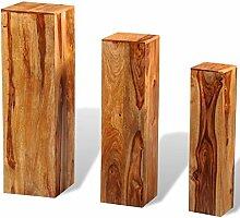 vidaXL 3X Blumensäule Massives Sheesham-Holz