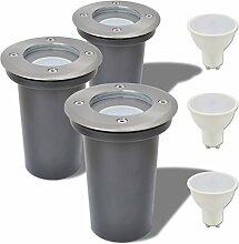 vidaXL 3x LED Bodenleuchte Garten Bodeneinbaustrahler Außenleuchte Bodenlampe