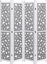 vidaXL 4-teiliger Raumteiler Grau 140 x 165 cm