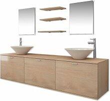 vidaXL 4-TLG. Badmöbel-Set Waschbecken Waschtisch