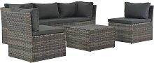 vidaXL 4-tlg. Garten-Lounge-Set mit Polstern Poly