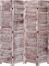 vidaXL 4-tlg. Raumteiler Braun 140×165 cm Holz