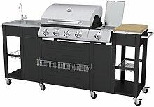vidaXL 40426 Barbecue Gas-Grill 2900W Schwarz,