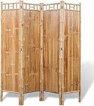 vidaXL 4Fach Bambus Raumteiler Paravent Trennwand